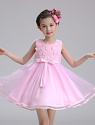 Ball Gown Short / Mini Flower Girl Dress - Cotton Satin Tulle Jewel with Appliques Bow(s)