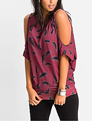 Women's Cut Out Going out Casual/Daily Sexy Street chic Summer Fall T-shirtPrint Round Neck Fashion Off-The-Shoulder All Match Length Sleeve Medium