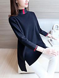 знак # 4220 2016 зима новых женщин&# 39, S свитера и длинные участки свитер подол щели