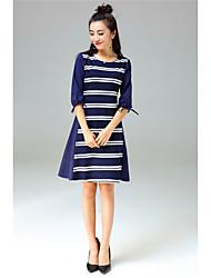 Linea A Vestito Da donna-Casual Semplice Romantico A strisce Rotonda Sopra il ginocchio Mezze maniche Blu Cotone Poliestere ElastenePer