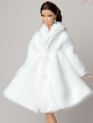 Casual More Accessories For Barbie Doll White Solid Coat For Girl's Doll Toy