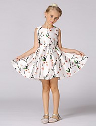 Ball Gown Knee-length Flower Girl Dress - Organza Sleeveless Jewel with Pattern / Print