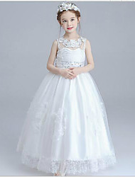 A-Line Floor Length Flower Girl Dress - Lace Sleeveless Jewel Neck with Beading