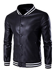 Casual/Daily Street chic Leather Jacket,Solid Stand Long Sleeve Spring Fall Dry clean only Dry flat Cowhide Regular