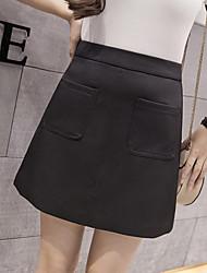 weibliche hohe Taille Rock Röcke ein Wort Rock schlank war dünn wilde Frühjahr Studenten eine solide Farbe Röcke
