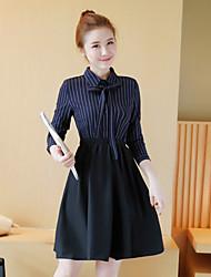 tiro real cintura listrado 2017 Primavera modelo de saia terno de duas partes falso vestido novo colarinho da camisa