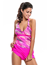 Women's Sporty Look Print Halter Tankini and Skort Swimsuit