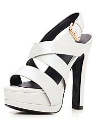 Women's Sandals Spring Summer Fall Club Shoes Sheepskin Office & Career Party & Evening Dress Chunky Heel Buckle Black White