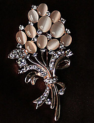 Brooches Rhinestone Floral Costume Jewelry Rhinestone Opal Alloy Jewelry For Party Casual