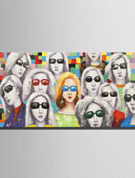 E-HOME Oil painting Modern Woman With Glasses Pure Hand Draw Frameless Decorative Painting