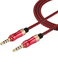 3.5mm Male to Male Jack Stereo Headphone Mic Aux Audio Cable Fabric Braided Woven for PC Laptop Phone Tablet (1.5m 5Ft)