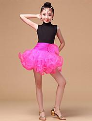 Latin Dance Dresses Children's Performance Milk Fiber Ruffles Splicing 1 Piece Sleeveless High Dress