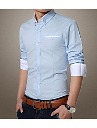 Men's Work Simple Shirt,Solid Button Down Collar Long Sleeve Blue White Rayon