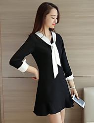 Sign 2017 spring and summer long-sleeved lace dress female Korean black skirt A word skirt