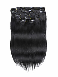 7pcs/set 14Inch  Clip In Human Hair Extensions 75g Pure Color Straight Hair