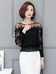 Sign 2017 spring new gauze strapless lace collar shirt women's loose short shirt