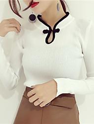 New retro cheongsam collar hedging long-sleeved sweater female sweater tight