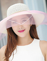 Women Summer Hollow Lace Shade Wedding Breathable Wide Brim Sunscreen Sun Hat