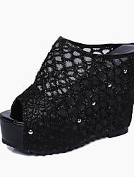 Women's Sandals Summer Club Shoes PU Casual Wedge Heel Others Black Beige