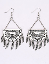Bohemia Tassel Leaf Earrings National Palace Wind Restoring Ancient Ways Classical Hollow Out Earrings