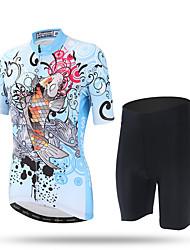 XINTOWN Maillot et Cuissard de Cyclisme Femme Manches Courtes Vélo Pantalon/Surpantalon Maillot Cuissard  / Short Hauts/Tops Séchage