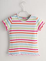 Baby T-Shirt,Lässig/Alltäglich Gestreift-Baumwolle-Sommer-Weiß