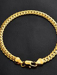 u7® alta qualidade ouro 18k robusto preenchido torcida ligação Figaro pulseira cadeia para mulheres dos homens