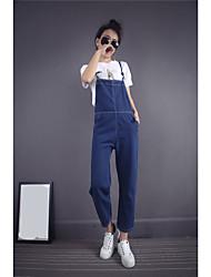 знак весной и летом корейских женщин джинсовых комбинезонов подтяжки Брюки Часть свободные брюки колготки