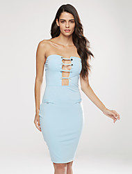 Women's Cut Out Going out / Party / Club Simple Bodycon DressPrint Boat Neck Knee-length Sleeveless Blue
