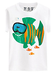 Casual/Daily Beach Sports Solid Print Tee,Cotton Summer Short Sleeve