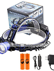 U'King® ZQ-X837BL#6-EU CREE XML T6 Zoomable 180 Rotate 3Modes Headlamp Bike Light Kits with Rear Safety LED