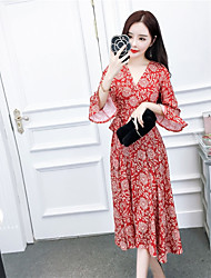 signer nett robe à manches en corne aérien national rétro 2017 nouvelle robe de plage mince v-cou