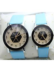 Relógio de Moda Quartzo Silicone Banda Preta Azul Vermelho Preto Vermelho Azul