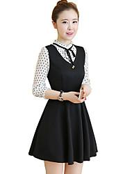 XL neue Frauen&# 39; s Kleid war dünn lose Fett mm gefälschte zwei