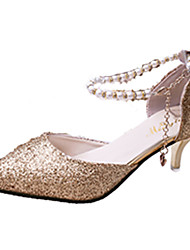 Women's Sandals Spring Summer Fall PU Wedding Office & Career Dress Party & Evening Low Heel Imitation Pearl Chain Gold Black Silver