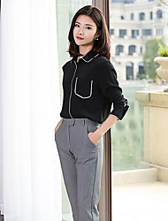 Women's Going out Casual/Daily Work Simple Cute Spring Fall Shirt,Solid Shirt Collar Long Sleeve Black Silk Thin