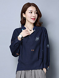 camisa de algodão sinal mulheres de grande porte soltos feminino&# 39; s 2017 Primavera nova onda de selvagem nove pontos impressão de