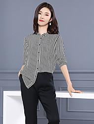 Women's Going out Casual/Daily Simple Summer Shirt,Striped Animal Print Shirt Collar ¾ Sleeve Black Green Silk Thin
