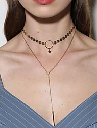Femme Collier court /Ras-du-cou Collier Y Collier multi rangs Bijoux Forme d'Etoile AlliageBasique Original Pendant Couche double
