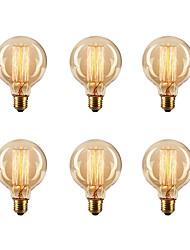 6pcs / lot G80 e27 40W ampoule ampoule edison incandescente lampe rétro vintage (220-240)