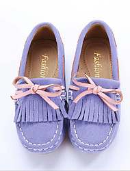 Girl's Loafers & Slip-Ons Spring Summer Fall Moccasin Suede Outdoor Athletic Dress Casual Flat Heel Bowknot Tassel Pink Purple Rose Pink