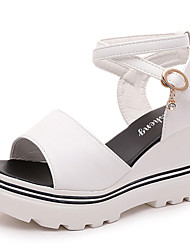 Mujer Sandalias Confort PU Primavera Verano Casual Vestido Confort Tacón Cuña Blanco Negro 5 - 7 cms
