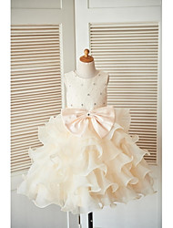 Princess Knee-length Flower Girl Dress - Lace Organza Scoop with Beading Bow(s) Lace