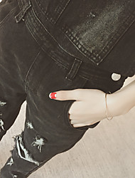Europe and South Korea 2017 spring new denim overalls hole was thin loose pants female models