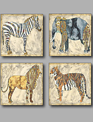 Stretched Canvas Print Painting Four Panels Canvas Wall Decor Home Decoration Abstract Modern Animals Elephant
