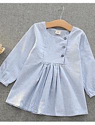 Girl's Striped Dress,Cotton Summer Long Sleeve
