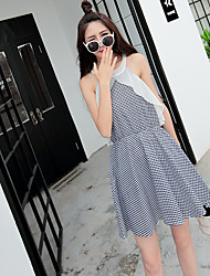 Sign strapless waist dress 2016 Korean Slim plaid cotton dress