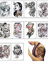 10PCS/LOT Fashion Waterproof Temporary Tattoo Henna Design Tattoo Sticker Couple Tattoos Transfer Fake Tattoo Sleeve