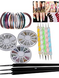 3 Wheel Nail Rhinestones  20Pcs Mixed Colors Nail Rolls Striping Tape Line  8pcs Pro Acrylic Nail Art Painting Dotting Pen