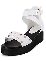 Sandals Spring Summer Fall Gladiator PU Office & Career Dress Casual Wedge Heel Rivet Black White